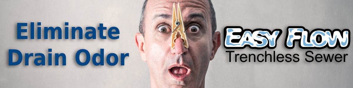 drain odor elimination banner image featuring man with clothespin on his nose and text
